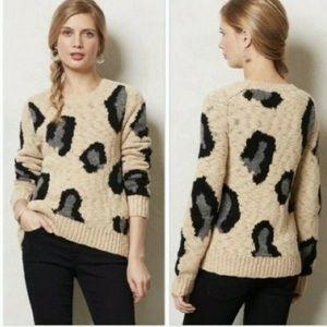 Anthropologie Sleeping on Snow Leopard Sweater XS